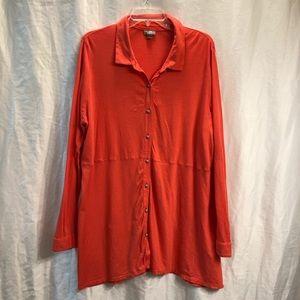 J Jill Pima Button Up Tunic Long Sleeve Coral B38P